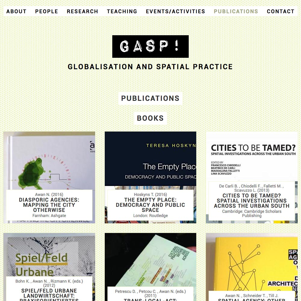 Globalisation and Spatial Practise, Publications, 2016